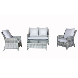 Sarah 4 Seater Sofa Set - Grey / Silver