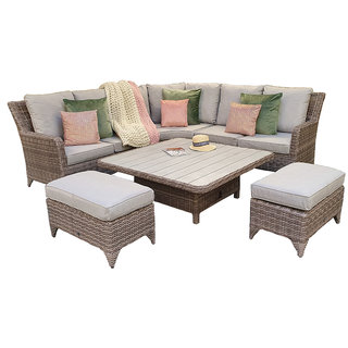 Alexandra Corner Dining Sofa Set With Lift Table & Aluminium Table Top