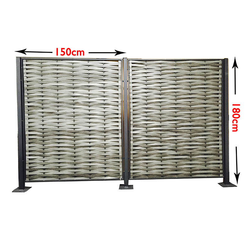Grey Wicker Privacy Screen/