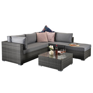 Flat Weave Savannah Corner Sofa - Grey