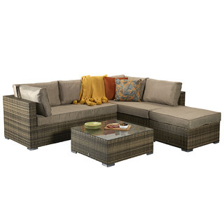 Flat Weave Savannah Corner Sofa - Brown