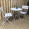 Sunshine 2 Seat Folding Steel Bistro Set - White/