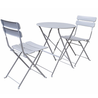 Sunshine 2 Seat Folding Steel Bistro Set - White