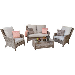Alexandra 4 Seater Sofa Set - Grey / Silver