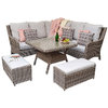 Alexandra Small Corner Dining Sofa With Benches - Grey / Silver/