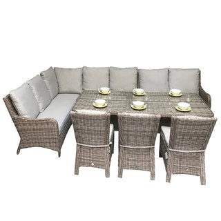 Alexandra Large Corner Dining Sofa With 3 Armless Chairs & Dining Table