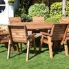 Eight Seater Circular Wooden Garden Table Dining Set with Burgundy Cushions/