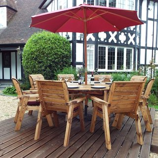 Eight Seater Circular Wooden Garden Table Dining Set with Burgundy Cushions