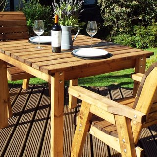 Two Seater Wooden Garden Table Set with Green Cushions