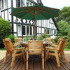 Eight Seater Circular Wooden Garden Table Dining Set with Green Cushions/