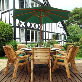 Eight Seater Circular Wooden Garden Table Dining Set with Green Cushions