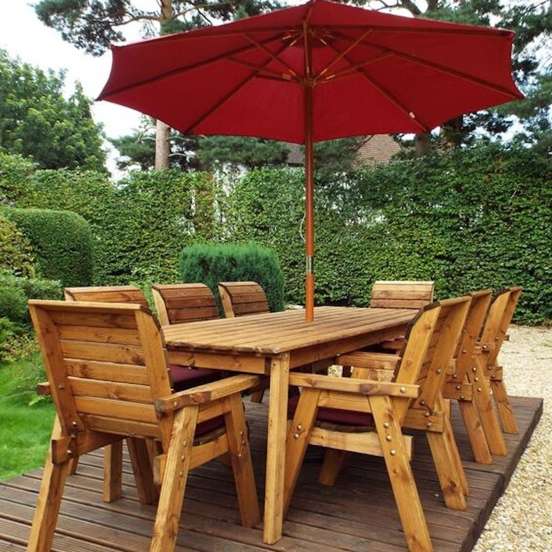 Eight Seater Rectangular Wooden Garden Dining Set with Burgundy Cushions/