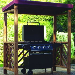 Dorchester Wooden BBQ Shelter - Burgundy