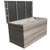 Victoria Large Grey Wicker Cushion Box With Zipped Liner/