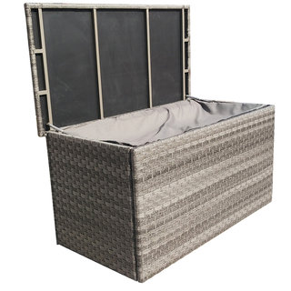 Victoria Large Grey Wicker Cushion Box With Zipped Liner