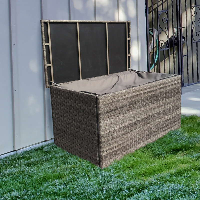 Victoria Medium Grey Wicker Cushion Box With Zipped Liner/