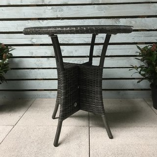 Flat Weave Bistro Table 70cm - Mixed Grey