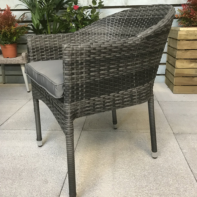 Flat Weave Stacking Chair - Mixed Grey/