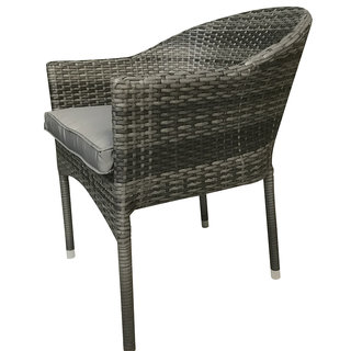 Flat Weave Stacking Chair - Mixed Grey
