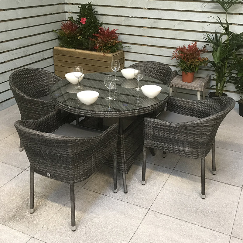 Flat Weave Round Table 100cm - Mixed Grey/