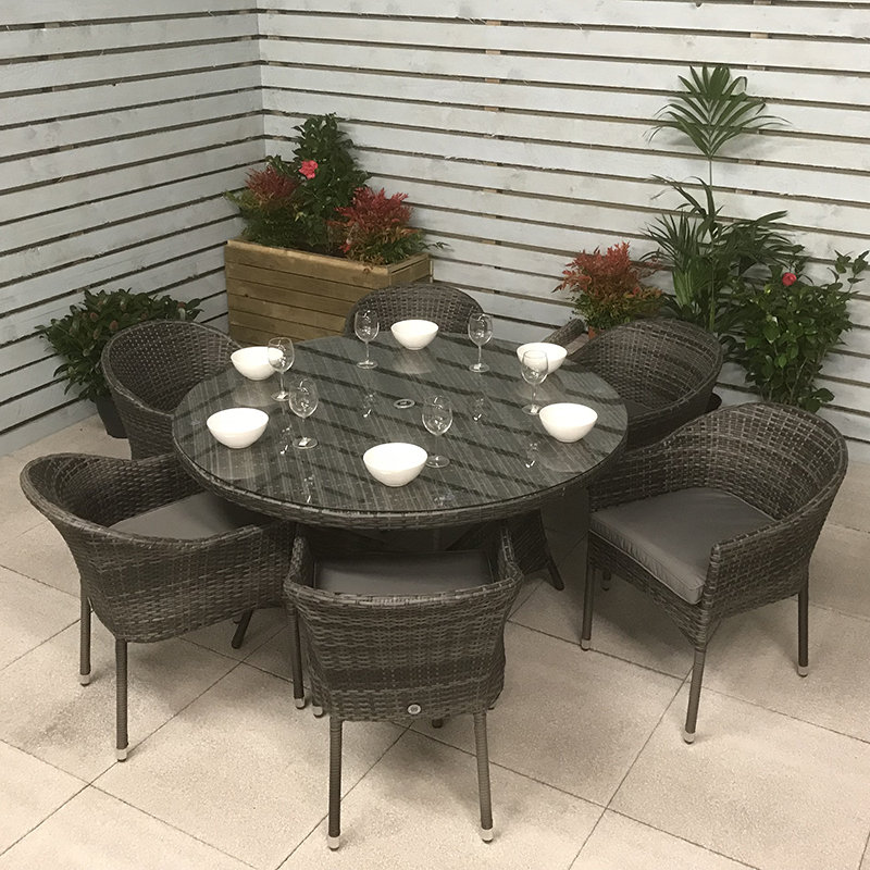 Flat Weave Round Table 135cm - Mixed Grey/