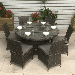 Flat Weave Round Table 135cm - Mixed Grey