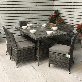 Flat Weave Rectangular Table 150 x 100cm - Mixed Grey