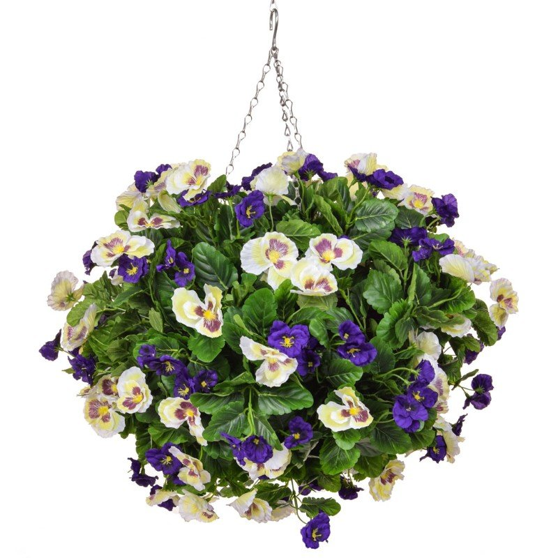 Artificial Pansy Ball Purple White 40cm/