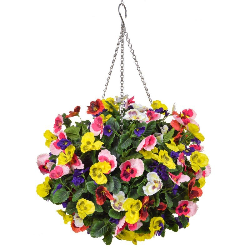 Artificial Pansy Ball Six Colour Mix 40cm/