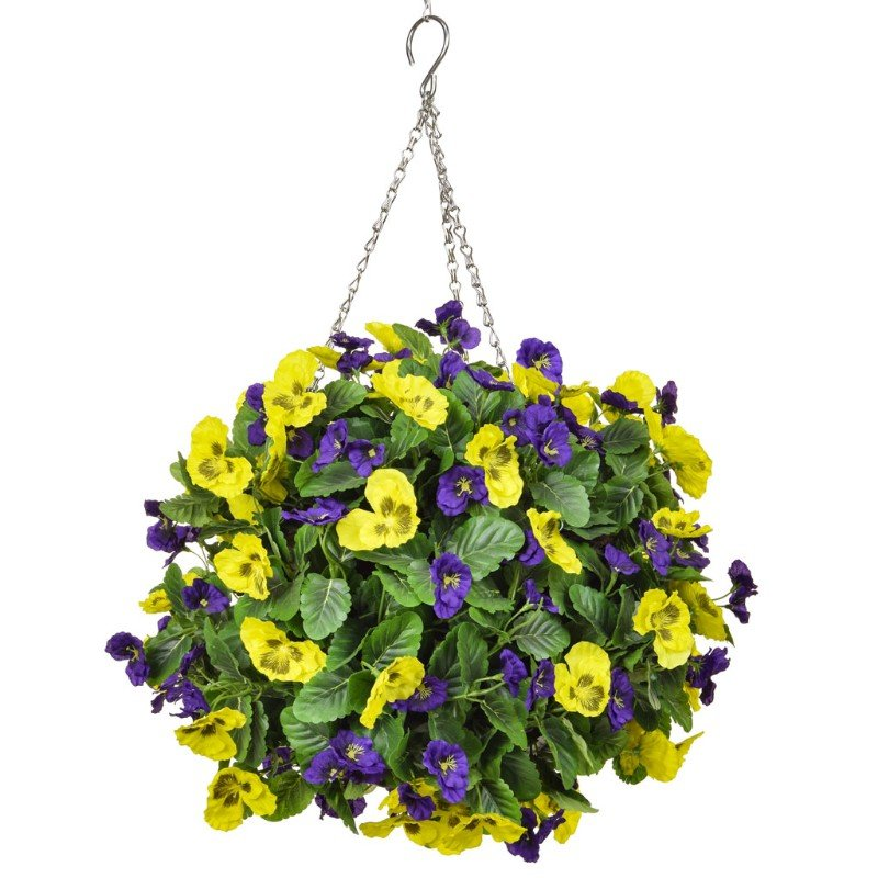 Artificial Pansy Ball Purple & Yellow 40cm/