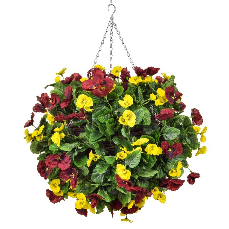Artificial Pansy Ball Red & Yellow 40cm/