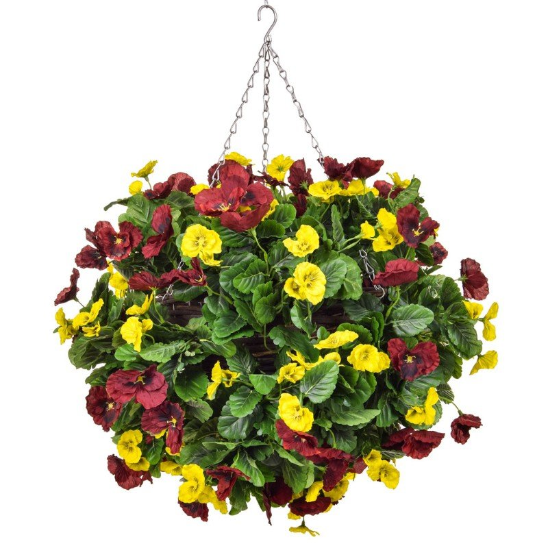Artificial Pansy Ball Red & Yellow 30cm/