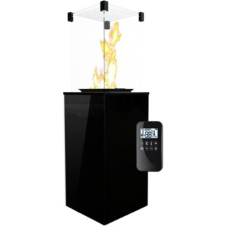 Kratki Real Flame Patio Heater - Black Glass Base Panels - Remote Control