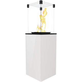 Kratki Mini Real Flame Patio Heater - White Glass Base Panels - Manual
