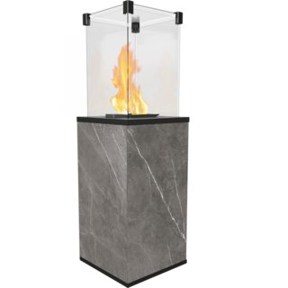 Kratki Real Flame Patio Heater - Quartz Sinter Base Panels (Natural Pietra Grey) - Manual