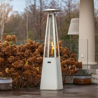 Kratki Umbrella Real Flame Pyramid Patio Heater - White with Brackets