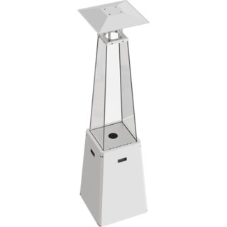 Kratki Umbrella Real Flame Pyramid Patio Heater - White