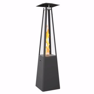 Kratki Umbrella Real Flame Pyramid Patio Heater - Black with Brackets