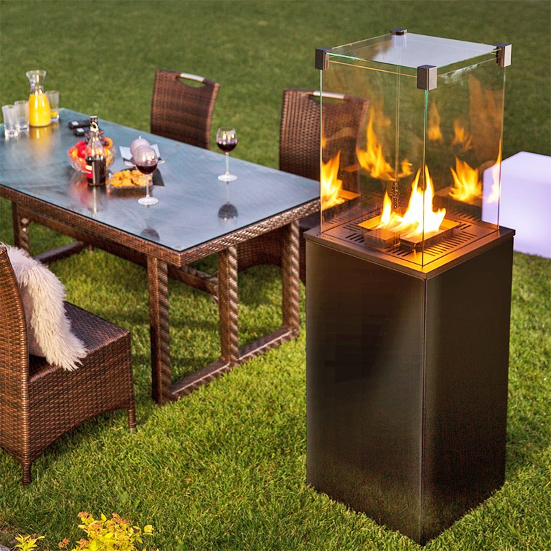 Kratki Real Flame Patio Heater - Black Glass Base Panels - Remote Control/