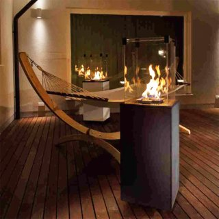Kratki Real Flame Patio Heater - Black Steel Base Panels - Remote Control