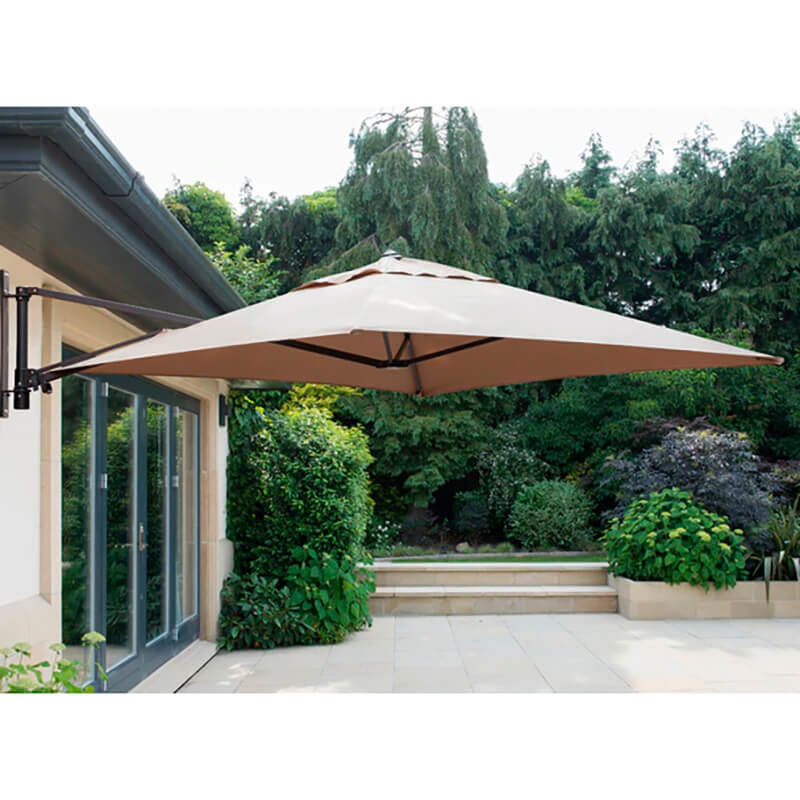 Wall Mounted Cantilever Parasol Taupe including Cover/