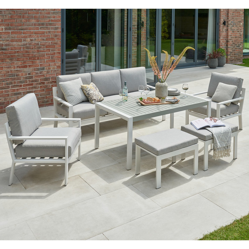 Titchwell Corner Set with Standard Table - White/